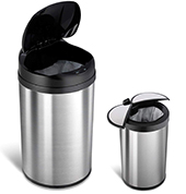 NINESTARS CB-DZT-49-8/12-18 Automatic Touchless Infrared Motion Sensor Trash Can Combo Set, 13 Gal 49L & 3 Gal 12L, Stainless Steel Base (Round, Black & Ladybug Lid)