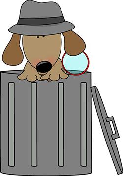 dog investigating trash can