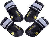 QUMY Dog Boots Waterproof Shoes for Large Dogs with Reflective Velcro Rugged Anti-Slip Sole Black
