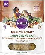 Halo Healthsome Garden of Vegan Sweet Potato, Carrot & Quinoa Cookie Dog Treats, 8-oz bag