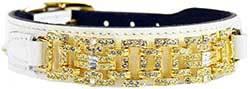 Hartman & Rose Haute Couture Dog Collar, 12 to 14-Inch, Deco White Patent