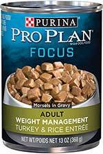 Roll over image to zoom in  video       PrevNext Purina Pro Plan Focus Adult Weight Management Turkey & Rice Entree Morsels in Gravy Canned Dog Food, 13-oz, case of 12