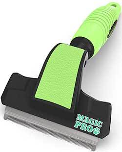 Professional Magic Pro Deshedding Tool; Reduces Shedding by up to 95%; Prevents Flakiness on Pet's Skin, and Lessens Dandruff; a Trusted, Durable, and Long Lasting Pet Shedding Brush for Cats and Dogs
