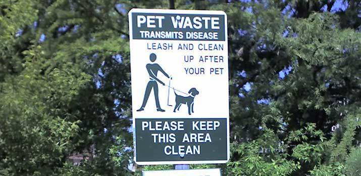 pet waste sign where you need to pick up dog poop