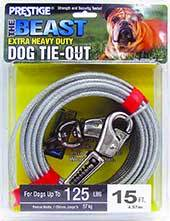 Boss Pet Prestige Dog Tie-Out with Spring, Beast, Silver