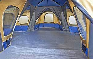 multiple rooms inside a tent are ideal for camping with dogs