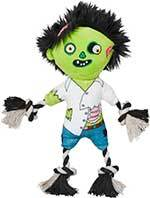 Frisco Halloween Zombie Plush with Rope Squeaky Dog Toy