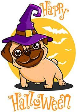 Happy Hallows evening dog - halloween