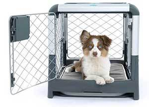 Diggs Revol Double Door Collapsible Wire Dog Crate, Cool Grey