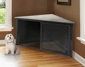 Richell Accent Corner Table Dog Crate, Antique Bronze, 49 inch