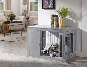 Unipaws Wooden Wire Furniture Style Dog Crate, 36 inch