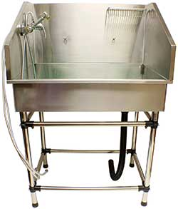 MiMu Pet Bath Grooming Tub Dog Washing Station from Home - Dog Bath Dog Bathing Tub with Back Splash and Faucet Assembly