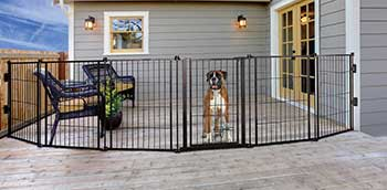 Carlson Pet Products Weatherproof Outdoor Super Wide Dog Gate, Black